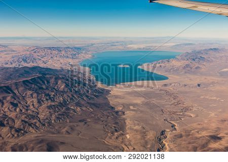 Aerial View From Plane Of Pyramid Lake Over Nevada