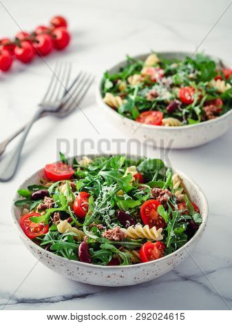 Warm Salad With Tuna, Arugula, Tomatoes , Red Bean, Pasta.idea And Recipe For Healthy Lunch Or Dinne