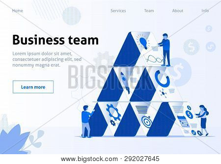 Team Metaphor Flat Template. Business Workflow, Process Efficiency, Working Activity, Startup, Offic