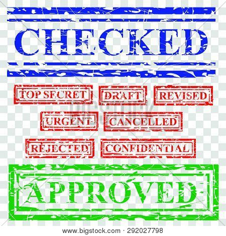 Simple 9 Rubber Red Blue And Green Stamp Effect, Document Proposal Offering Related, Checked, Top Se
