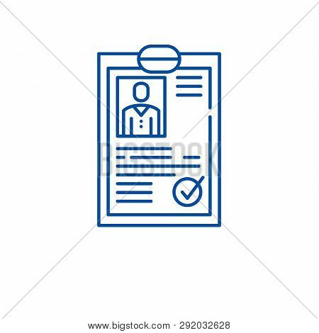 Cv Resume Line Icon Concept. Cv Resume Flat  Vector Symbol, Sign, Outline Illustration.