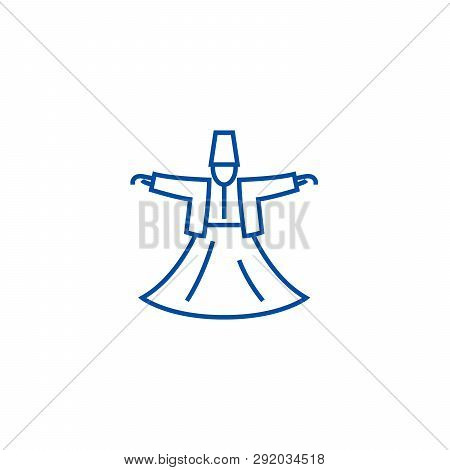 Dervish dance, islam line icon concept. Dervish dance, islam flat  vector symbol, sign, outline illustration. poster
