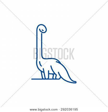 Diplodocus Line Icon Concept. Diplodocus Flat  Vector Symbol, Sign, Outline Illustration.