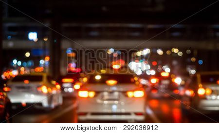 Traffic Jam In City Concept - Blurred Of Car Brake Light On Traffic Jam Road Night And Copy Space