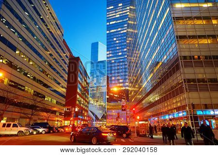 New York - March 20, 2015: Illumination And Night Lights Of New York City. Night Life Of The City Th