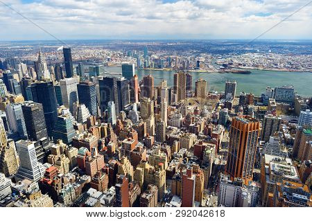 Aerial View Of Scenic Manhattan Downtown Skyline