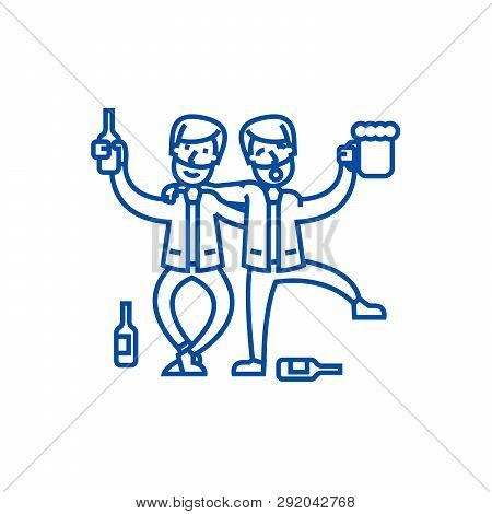 Drunk People, Drunk Party, Two Men Drinking Line Icon Concept. Drunk People, Drunk Party, Two Men Dr
