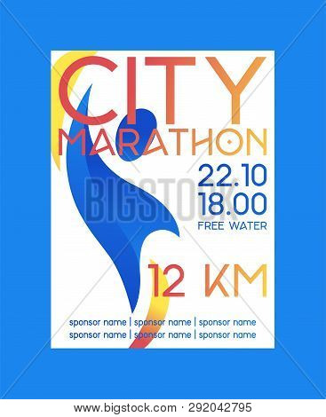 City Marathon Poster, Banner Vector Illustration. Abstract Person On Background. Running Competition