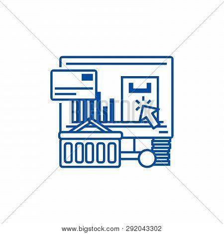 E Commerce Line Icon Concept. E Commerce Flat  Vector Symbol, Sign, Outline Illustration.