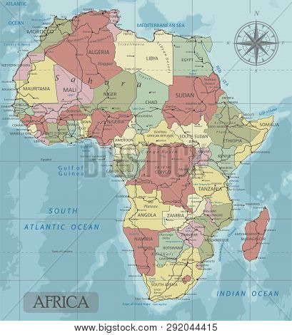 Detailed Africa Political Map In Mercator Projection. Clearly Labeled. Separated Layers.