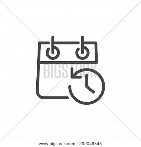 Calendar With Clock And Arrow In Opposite Direction. Icon Of Schedule, Agenda, Timepiece, Countdown,