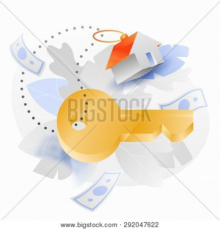 Key With Trinket House Vector Illustration With Big Golden Key And Red Roofed Trinket House. 3d With