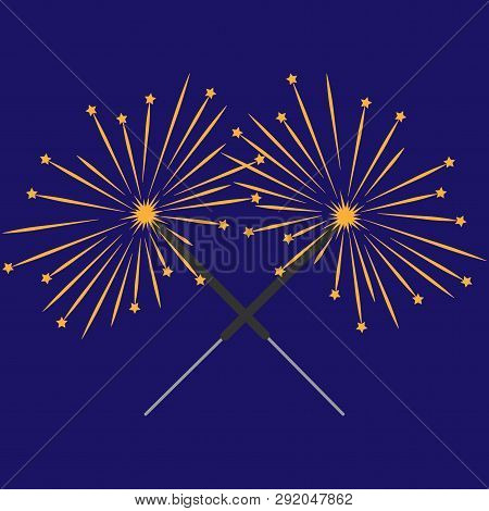 Double Sparkler Sign With Stars. Celebration Symbol. Image Of Bengal Light. Mark Of Spark For Party.