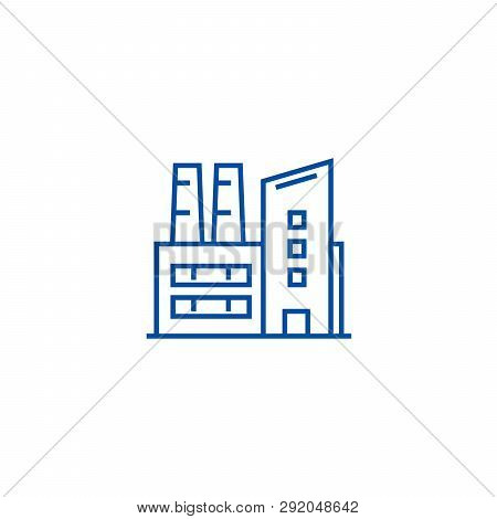 Factory, Industrial Plant Line Icon Concept. Factory, Industrial Plant Flat  Vector Symbol, Sign, Ou