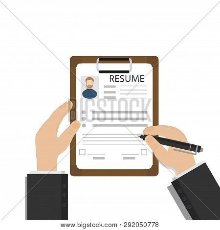 Man Fills In Questionnaire, Resume Or Application Form. Clipboard With Leaf In Hand. Writing Busines
