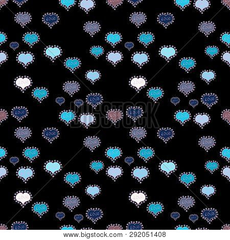 Hand Drawn Illustration In Cartoon Style. Graphic Hearts Love On Neutral, Blue And Black Colors. Vec