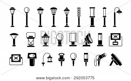 Landscape Path Lights For Patio, Deck & Yard. Outdoor Garden Lighting. Vector Flat Icon Set. Isolate