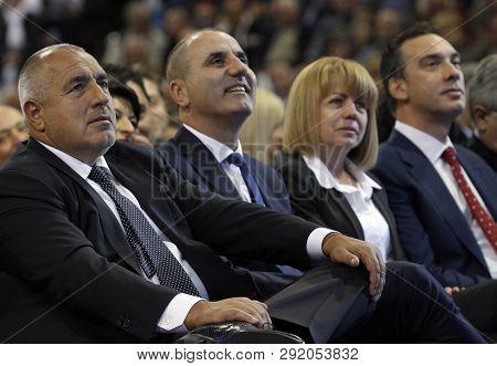 Sofia, Bulgaria - October 9: Bulgarian Prime Minister Boyko Borisov (l-r) And Gerb Vice-presidents T