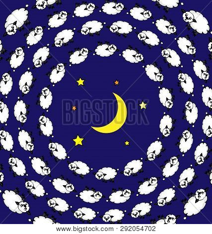 Colored Background Abstract Image Of Night And Sleeping Lambs