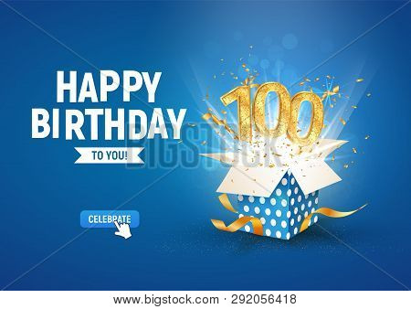 100 Th Years Anniversary Banner With Open Burst Gift Box. Template Hundredth Birthday Celebration An