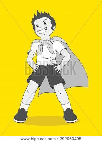Cartoon Illustration Of A Boy Pretending To Be A Superhero