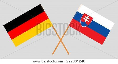 Slovakia And Germany. The Slovakian And German Flags. Official Colors. Correct Proportion. Vector Il