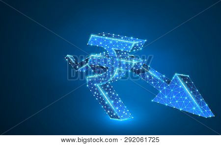 Downtrend Arrow, Rupee Currency, Digital Neon 3d Illustration. Polygonal Vector Business Crisis, Cra