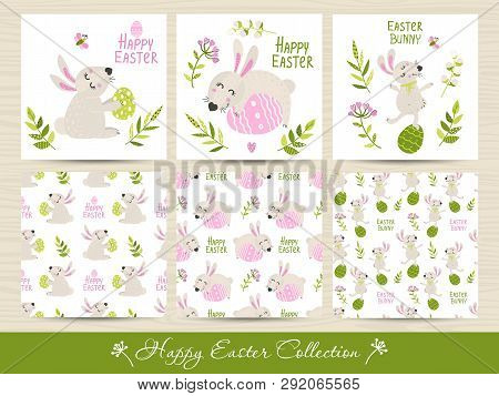 Set Of Easter Seamless Patterns And Cards