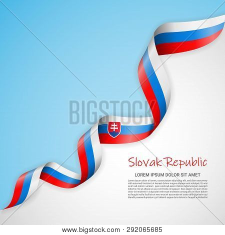 Vector Banner In White And Blue Colors And Waving Ribbon With Flag Of Slovak Republic. Template For