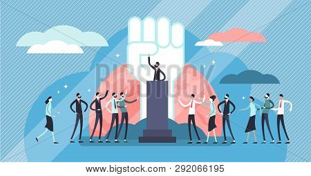 Populism Vector Illustration. Flat Tiny Leader Manipulation Persons Concept. Disinformation Strategy