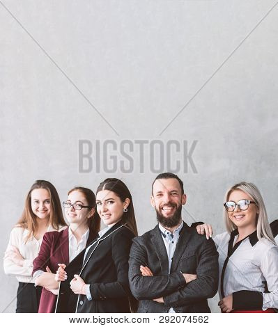Female Oriented Company. Corporate Staff. Confidence Success And Expertise. Young Business Team Posi