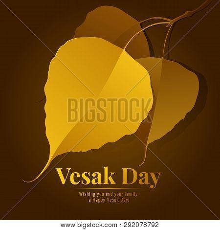 Vesak Day Banner With Gold Bodhi Leaf Branch Vector Design