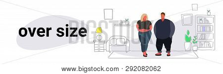 Abdomen Fat Overweight Couple Man Woman Cartoon Characters Obesity Over Size Concept Unhealthy Lifes