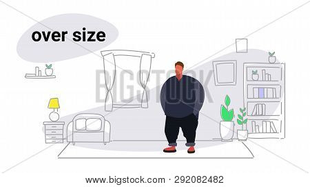 Abdomen Fat Overweight Man Fatty Guy Obesity Over Size Concept Unhealthy Lifestyle Modern Living Roo
