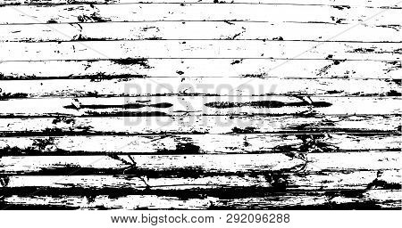 Horizontal Narrow Planks. Abstract Background, Old Wooden Wall. Wood Vector Texture. Overlay Illustr