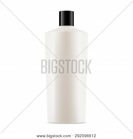 White Bottle Cosmetic Package. Gel, Lotion Or Shampoo Product. 3d Container Mockup, Isolated. Round