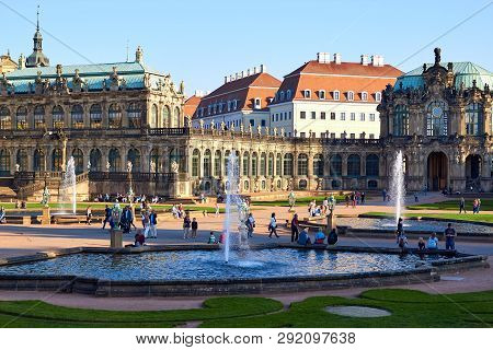 Dresden, Germany - October 10, 2018: Sightseeings Of Germany. Historical Buildings And Streets Of Dr
