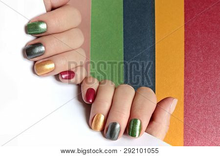 Multi-colored Mother Of Pearl Manicure On Short Nails.nail Art.nail Design Red,green,gray,beige,gold