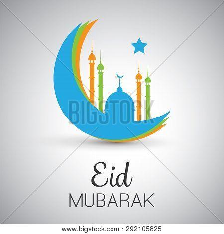 Ramadan Kareem Or Eid Mubarak - Greeting Card Design For Muslim Community Festival With Blue Mosque