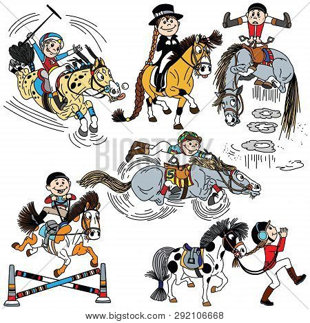 Set Of Cartoon Child Riding A Horse. Kid Training His  Pony .collection Of Funny Equestrian Sport Di