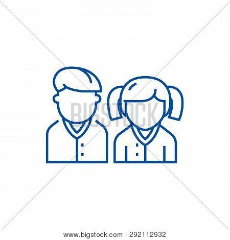 Pupils, Students, Scholar Line Icon Concept. Pupils, Students, Scholar Flat  Vector Symbol, Sign, Ou