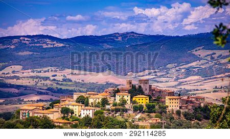 Cityscape Of An Old Town In Maremma Region In Tuscany Seen From The Hill, Maremma Italy