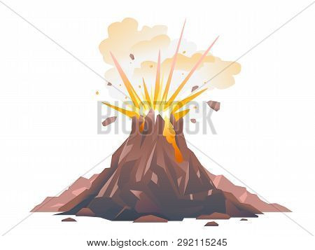 One Big Brown Volcano With Explosion And Smoke, Volcano Eruption Of Orange Lava Flows Down The Hill