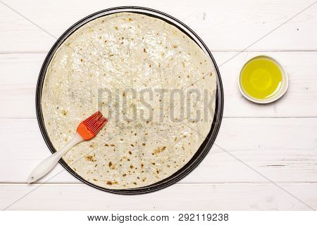 Grease Pita With Olive Oil. Recipe Step By Step Pizza Capricciosa Flatlay On White Wood