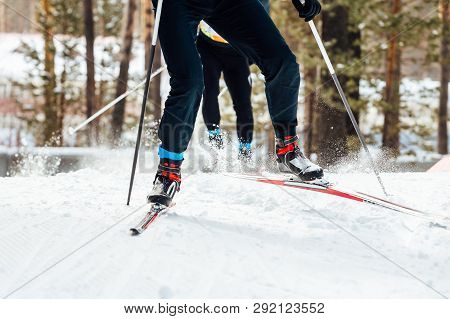 Two Skiers Downhill Skiing Cross Country Race