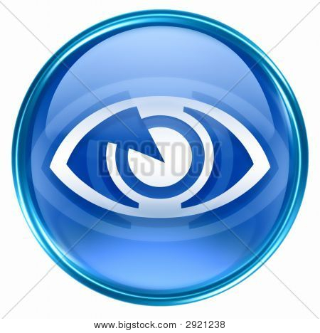 Eye Icon Blue, Isolated On White Background.