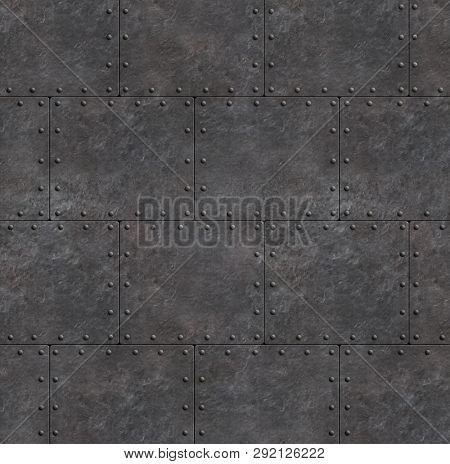 armor rustic plates with rivets as metal background 3d illustration