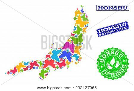 Eco Friendly Combination Of Bright Mosaic Map Of Honshu Island And Grunge Seals With Nature Reserve