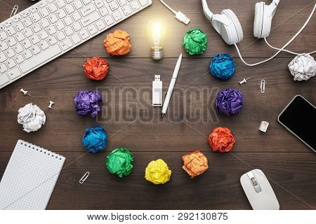 Top View Of An Office Table With Great Idea Concept. Problem Solution Concept Depicted By Colorful C