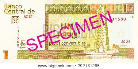 A Single 1 Cuban Convertible Peso Bank Note Reverse